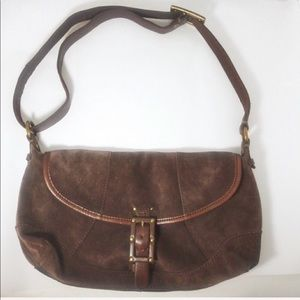 Lucky Brand Brown Suede Messenger Bag / Cross Body